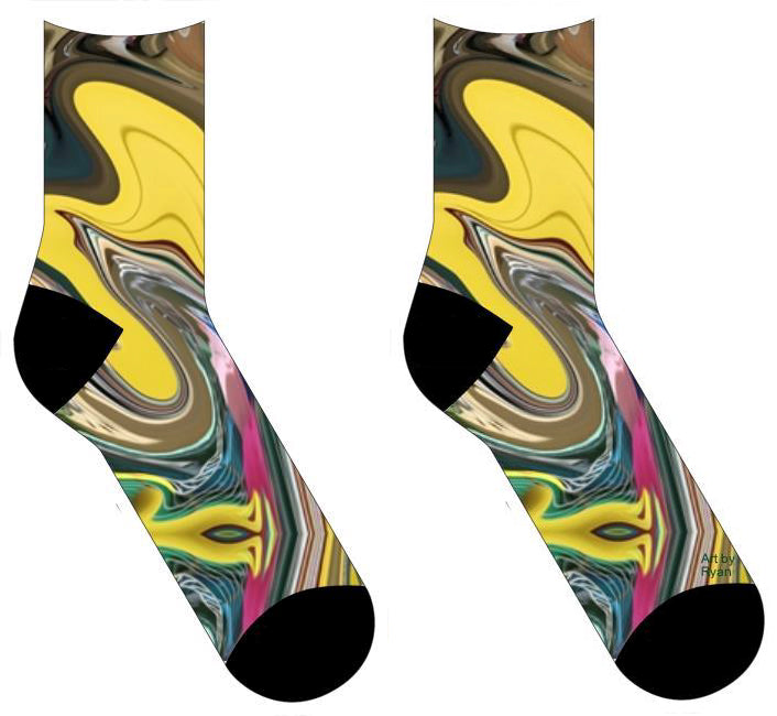 socks with a swirling design of yellow, gold, green, pink swirl