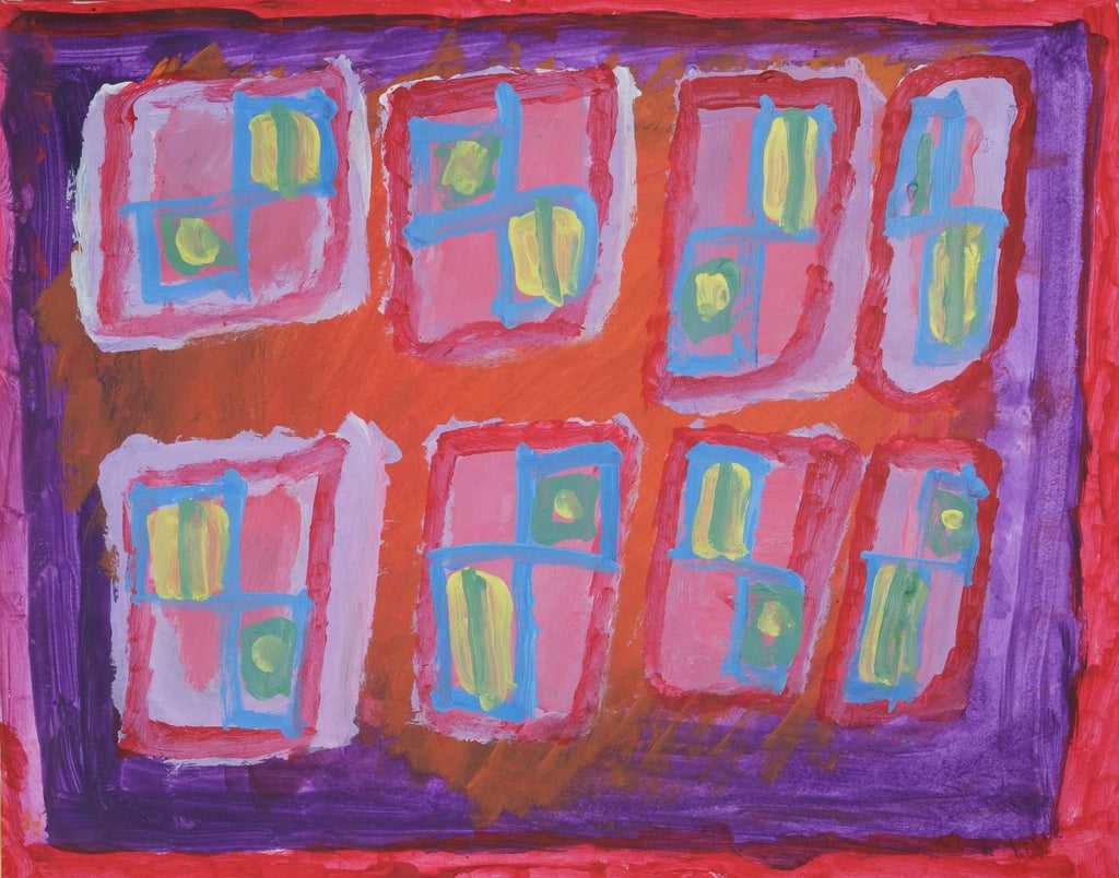 Acrylic on paper artwork depicting red and purple border with 8 squares inside depicting lavender and red outlines with blue, yellow and green insides