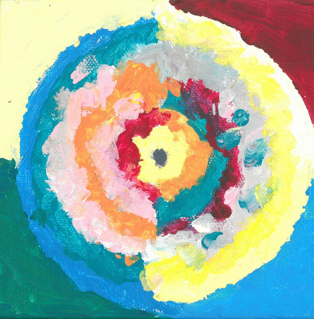 Acrylic on canvas artwork with yellow, red, teal and light blue background with interlocking circles of varying colors decreasing in size from outwards in