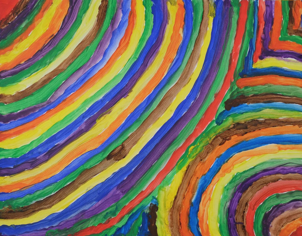Acrylic on paper artwork in a pattern of brown, purple, green, orange and yellow curved lines moving from left to right