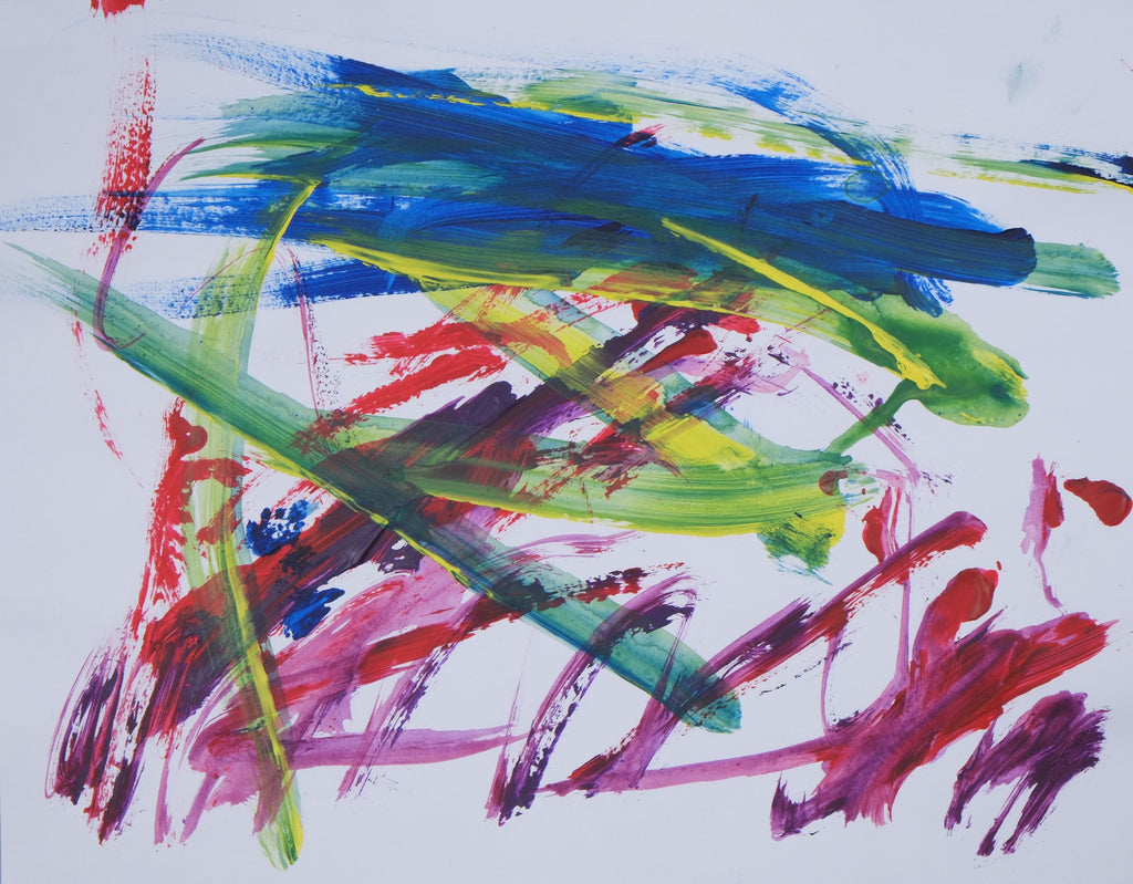 Acrylic on paper artwork with long brush strokes of blue, green and yellow in a horizontal pattern and pink, purple and red in a slanted pattern against a white background