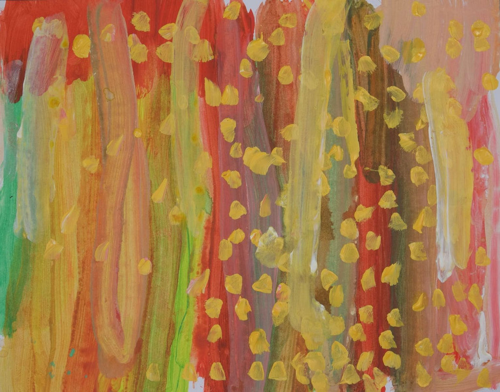Acrylic on paper artwork with broad vertical brush strokes of green, yellow, red and brown with yellow dots throughout