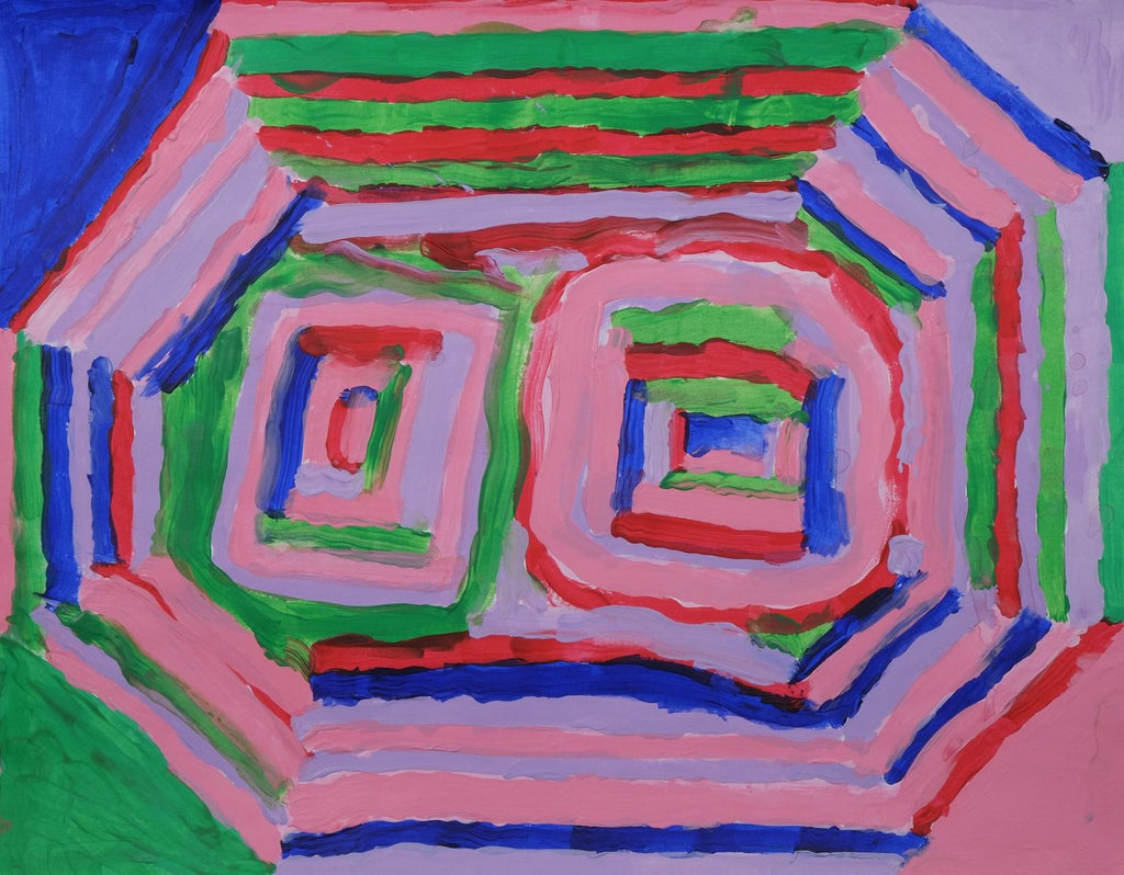 In the center, there are two squares, each side is alternating in light purple, pink, green, blue, and red. Surrounding the squares in a radiating outline of an octagon