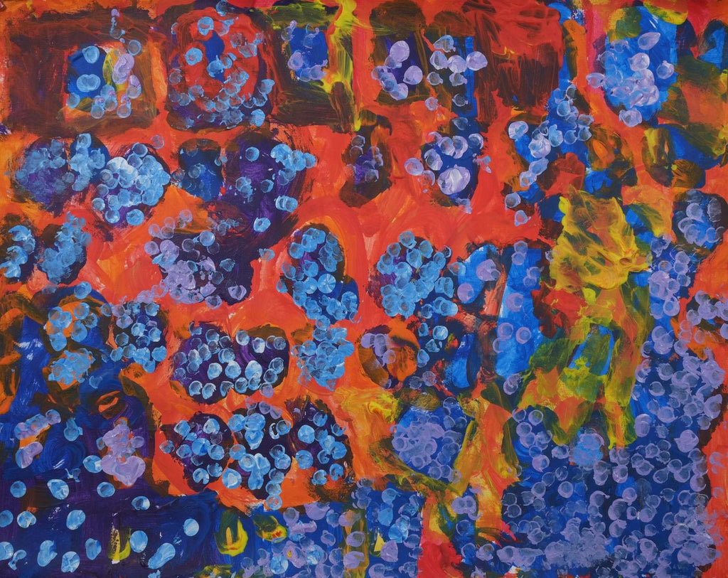 Acrylic on paper artwork with a red, orange and yellow background beneath dark blue and purple circles with lavender and light blue dots.  The artwork is inspired by the dew in the morning