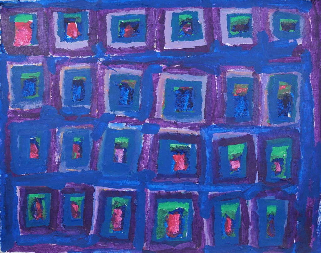 Acrylic on paper artwork against blue background with many squares outlined in purple with blue, green and red inside