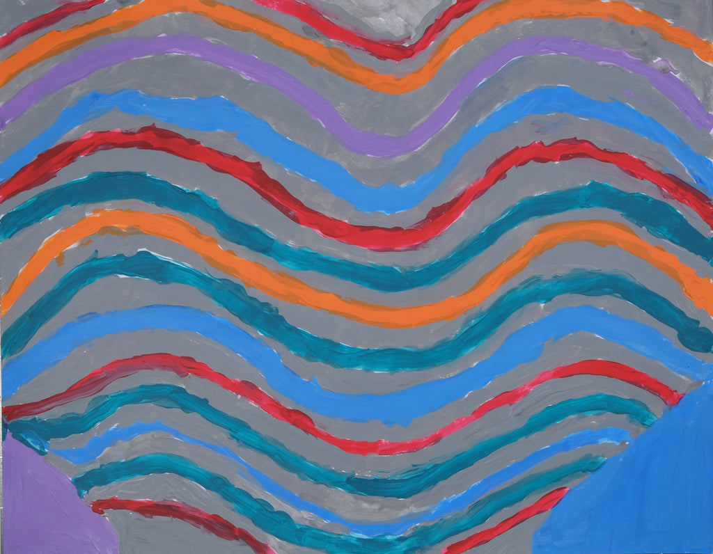 Acrylic on paper artwork with horizontal waves of gray, red, orange, purple, blue and turquoise