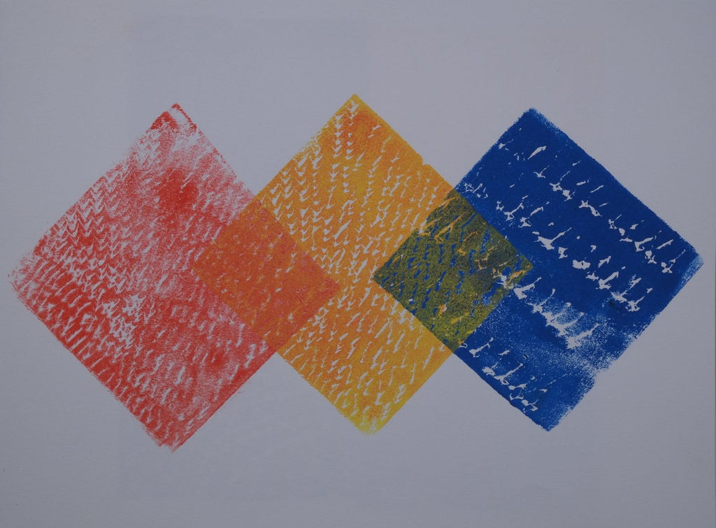 Ink on paper artwork against white background with three colored diamonds in red, yellow, and blue from left to right