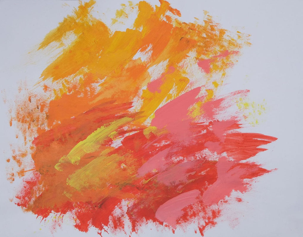 Acrylic on paper artwork with white background and broad orange, yellow, pink and red brushstrokes
