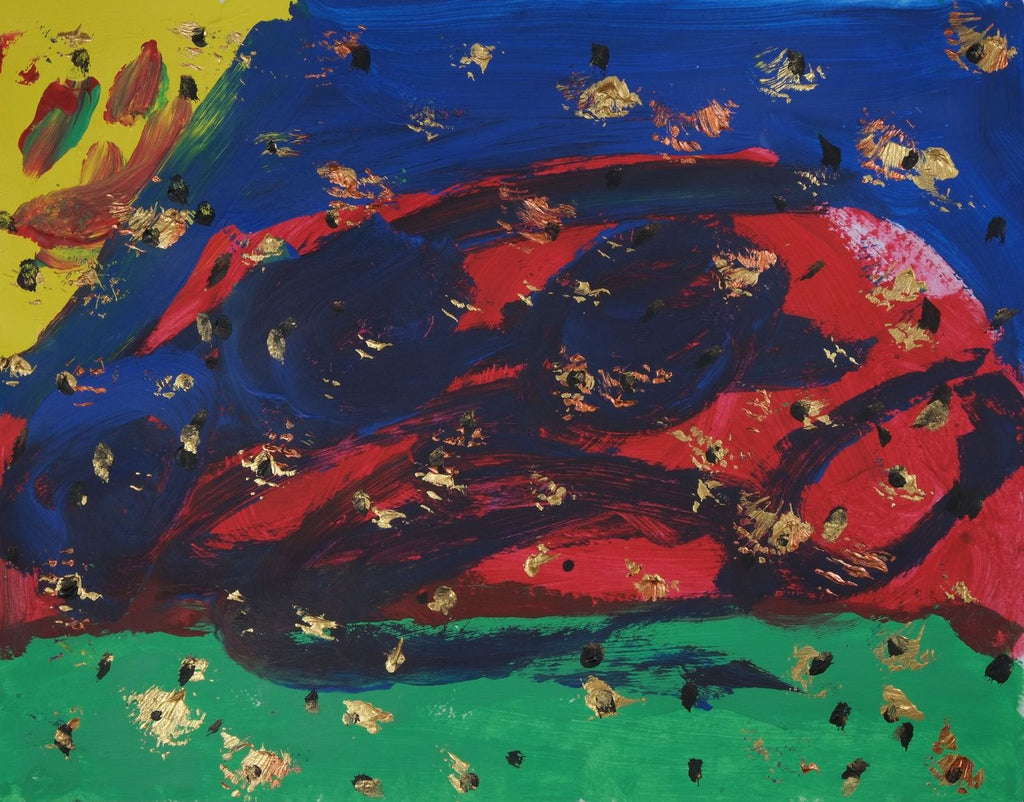 Acrylic on paper artwork with large strokes of green, red, and blue.  The top left corner is yellow and tiny gold and black flecks are throughout the entire piece