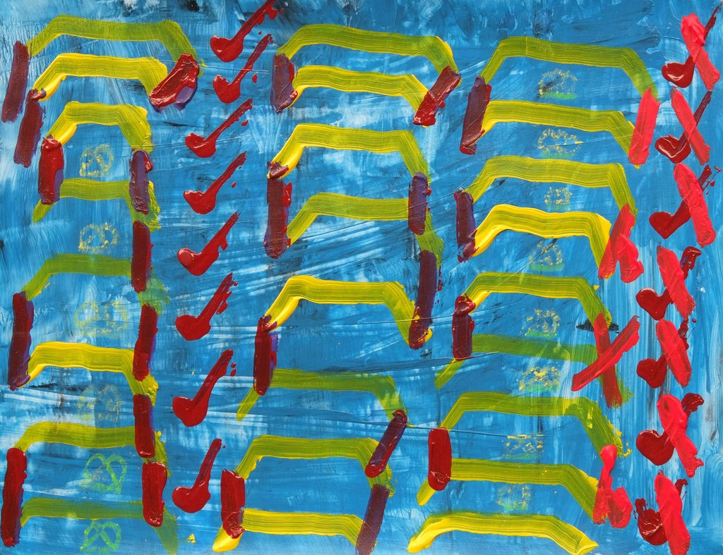 Acrylic and oil pastel on paper artwork with light blue background with yellow lines and red checks and x's