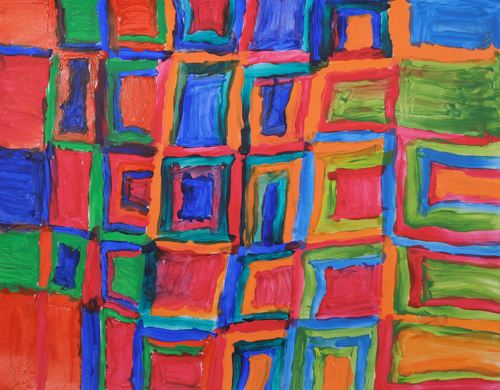 Acrylic on paper artwork depicting interlocking squares in green, orange, blue and red colors