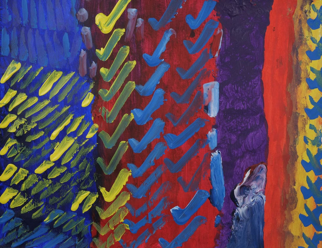 Acrylic on paper artwork with blue, maroon, red, purple and orange vertical lines with blue and yellow check marks