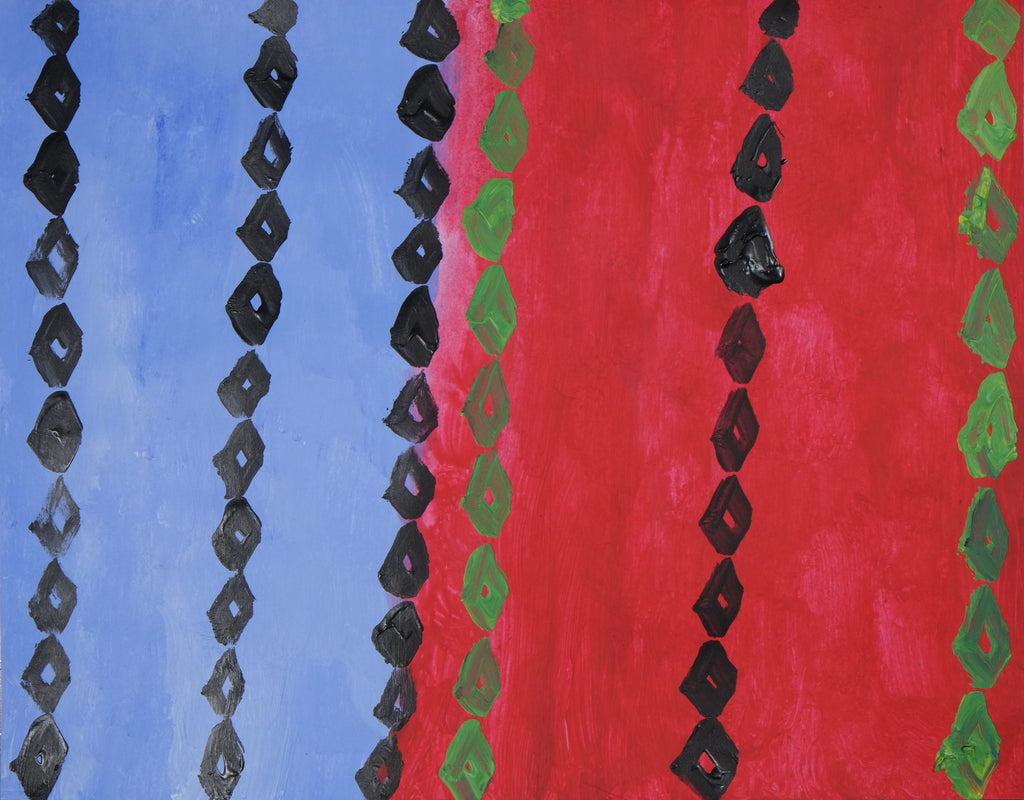 Acrylic on paper artwork with blue and red vertical background with vertical strands of green and black diamonds