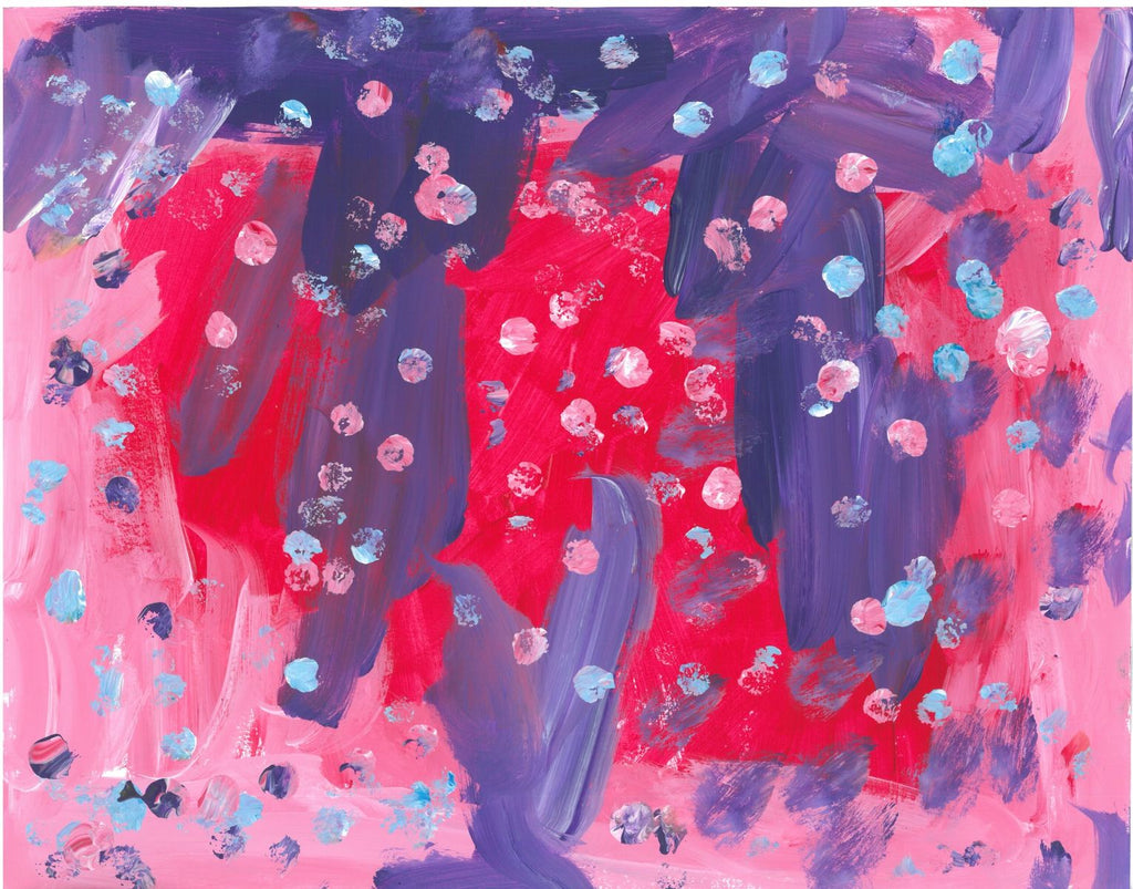 Acrylic on paper artwork with purple, light pink, and dark pink paint streaks with small light pink and light blue dots