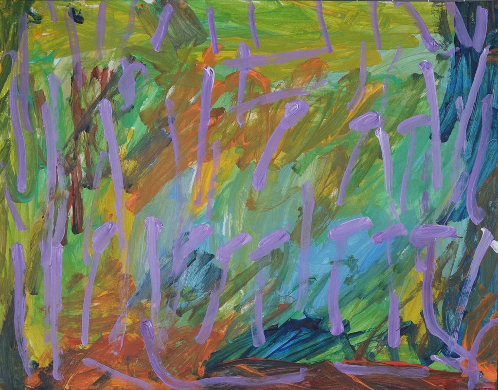 Acrylic on paper artwork with a background of light green, orange, blue and yellow streaks in both directions beneath lavender lines throughout