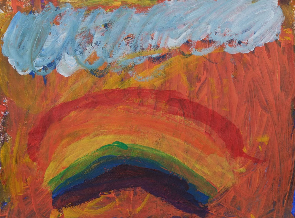 Acrylic on paper artwork with a white and blue cloud above a rainbow with yellow and coral background