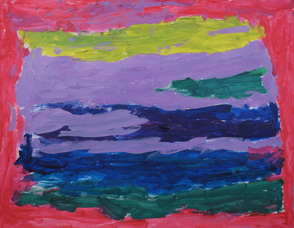 Acrylic on paper artwork with red border and yellow, teal, blue and purple horizontal lines