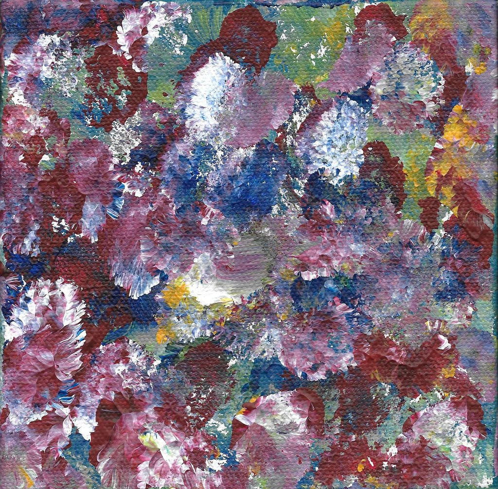 Acrylic on canvas artwork with fluffy round paint strokes in green, maroon, white, blue and yellow