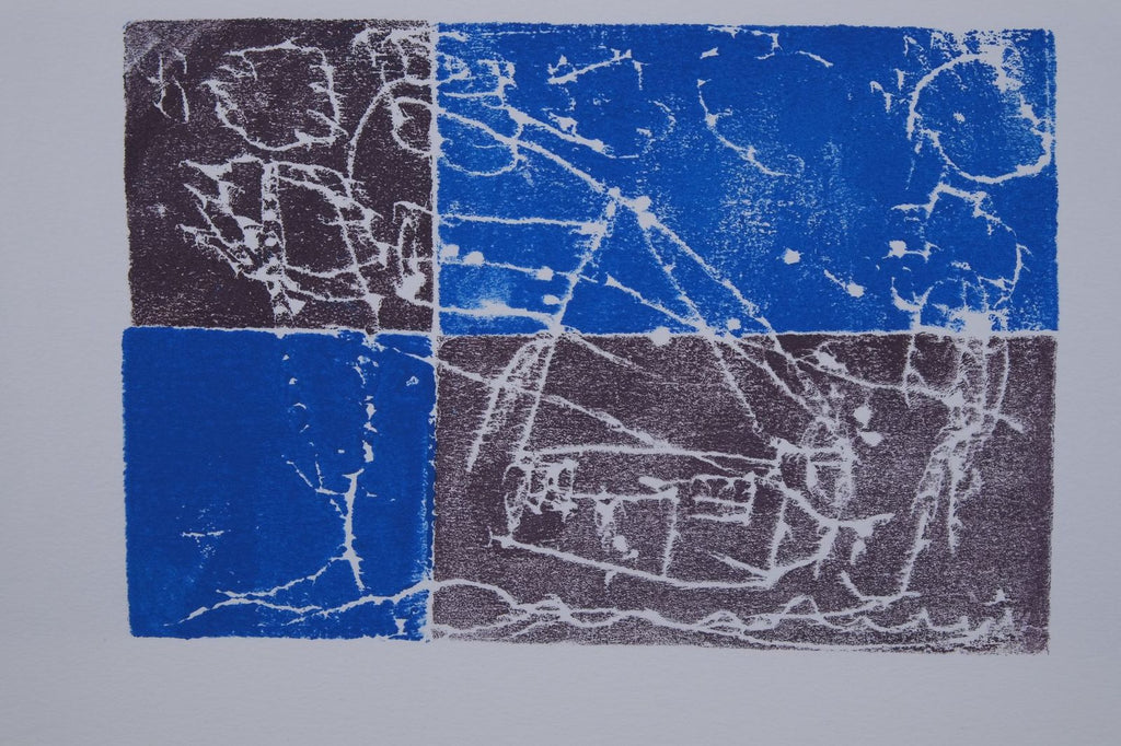 Ink on paper artwork with a black square in the top left, a blue square in the bottom left, a blue rectangle in the top right and a black rectangle in the bottom right.  White outlines of a house and sun are atop the colored blocks