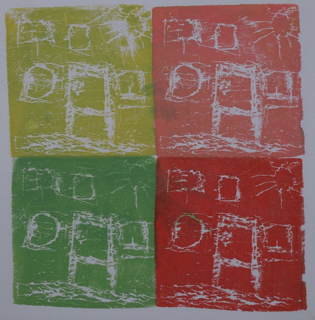 Ink on paper artwork with four colored blocks of lime green, green, coral, and red, each depicting a white house