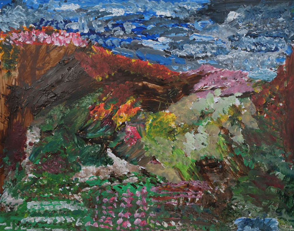 Acrylic on paper artwork depicting a wild garden with pink flowering trees, grass in the foreground with pink flowers beneath a blue, white and black sky