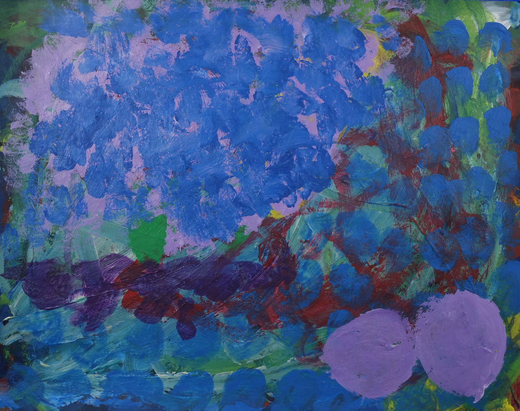 Acrylic on paper artwork with green, lavender and red background with blue dots  and two large lavender dots in the right corner