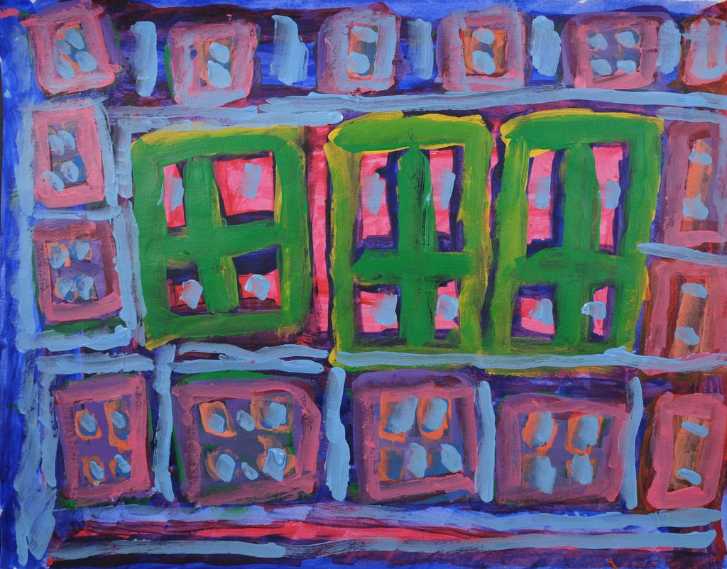 Acrylic on paper artwork with framed windows throughout.  Smaller pink and blue windows outline three large green windows with pink and purple inside
