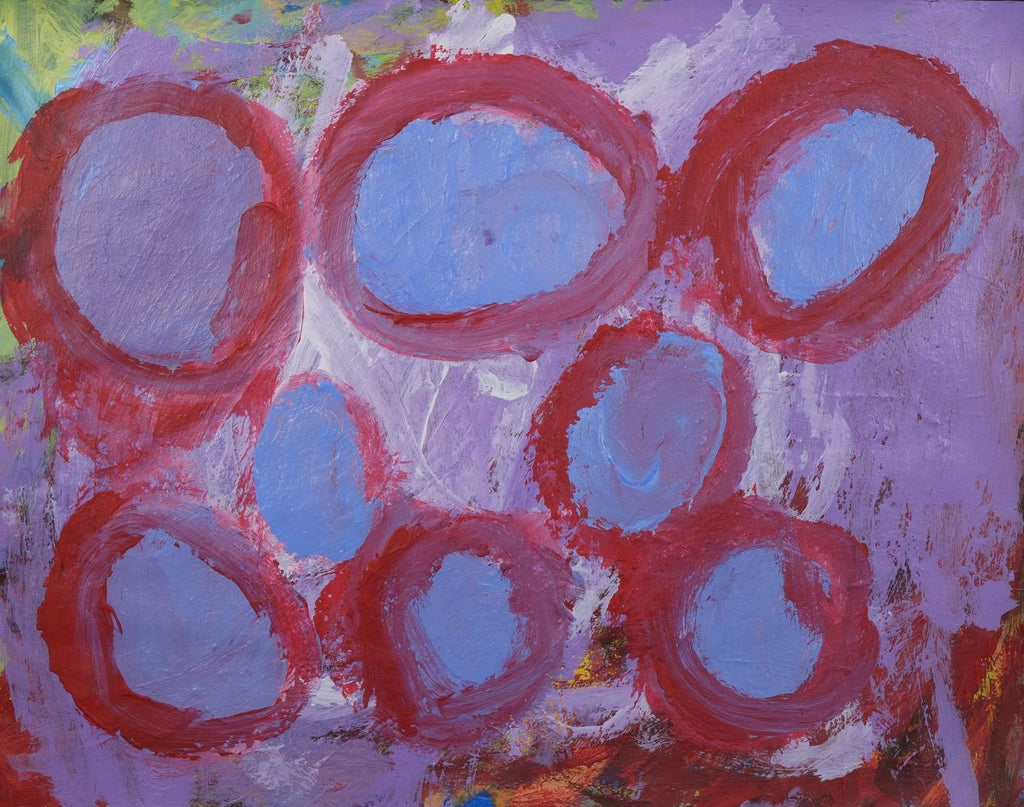 Acrylic on paper artwork with blue and lavender background and red circles on top