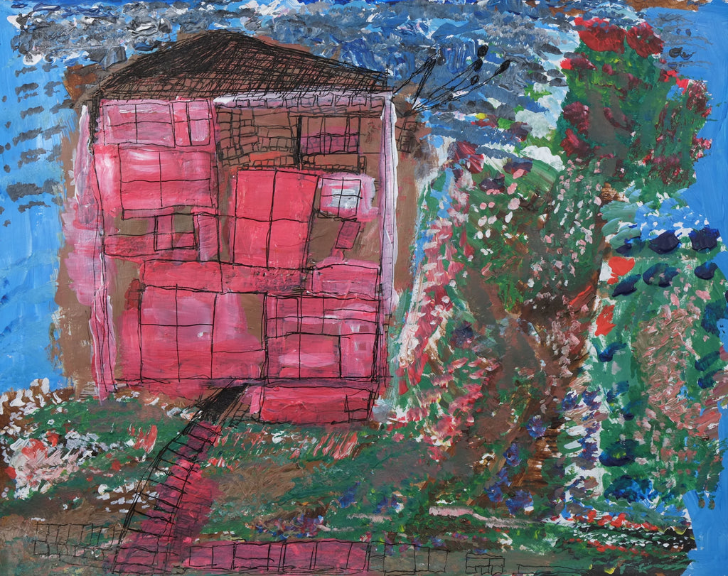 Acrylic and ink on paper artwork of a red and brown house with a black roof against a blue sky with a green garden