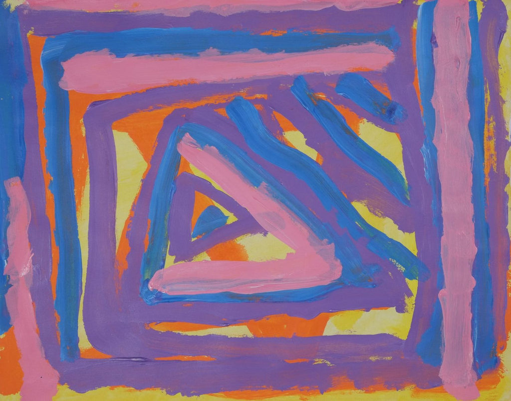 Acrylic on paper artwork depicting orange and yellow background with blue, pink and purple squares working inward to blue, pink and purple triangle center