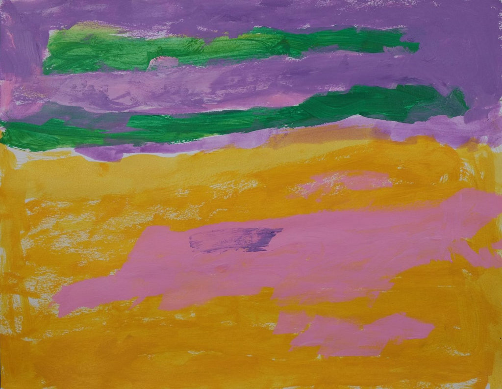 Acrylic on paper artwork depicting horizontal purple and yellow background with green and pink horizontal overlay