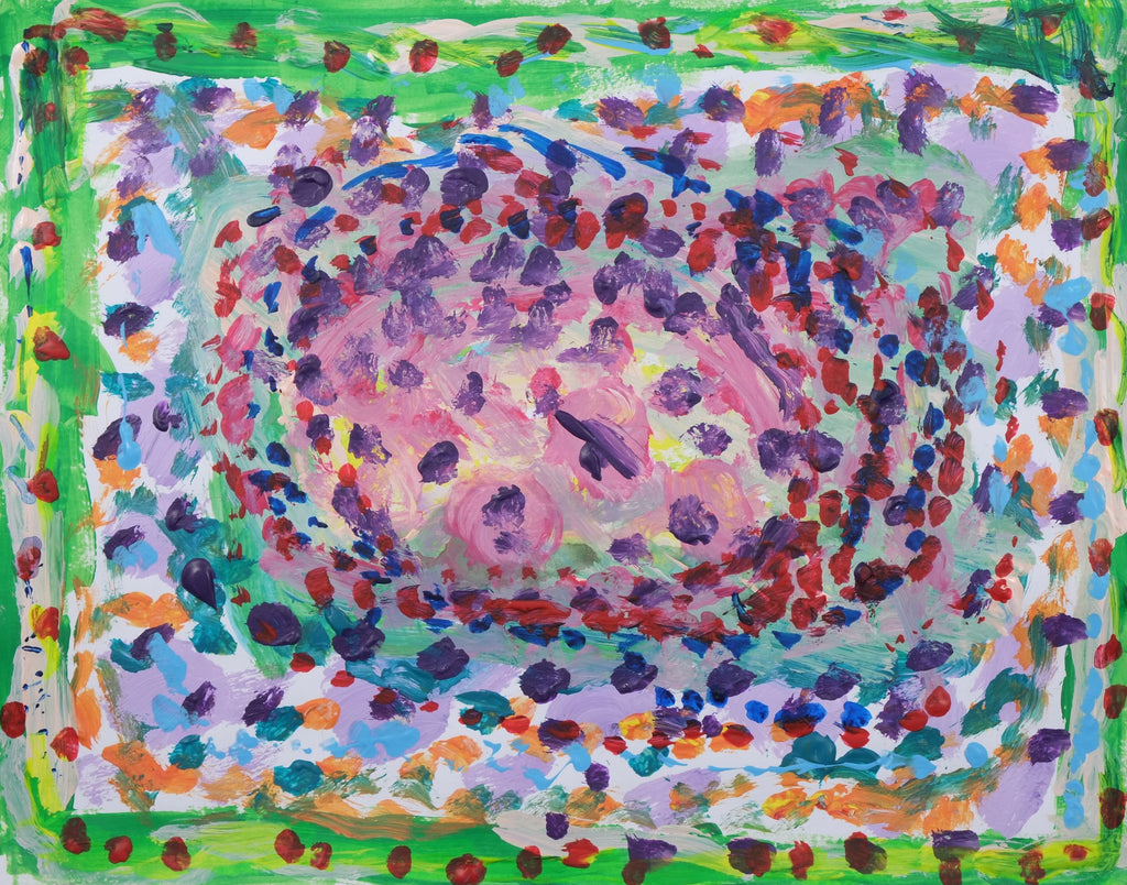 Abstract painting with borders green and the center being a light purple. Red, Blue, Purple dots all over