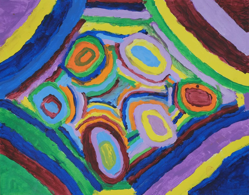 Acrylic on paper artwork with purple, yellow, red, green and blue lines working outside in to interlocking circles of blue, green, orange, yellow, blue and lavender