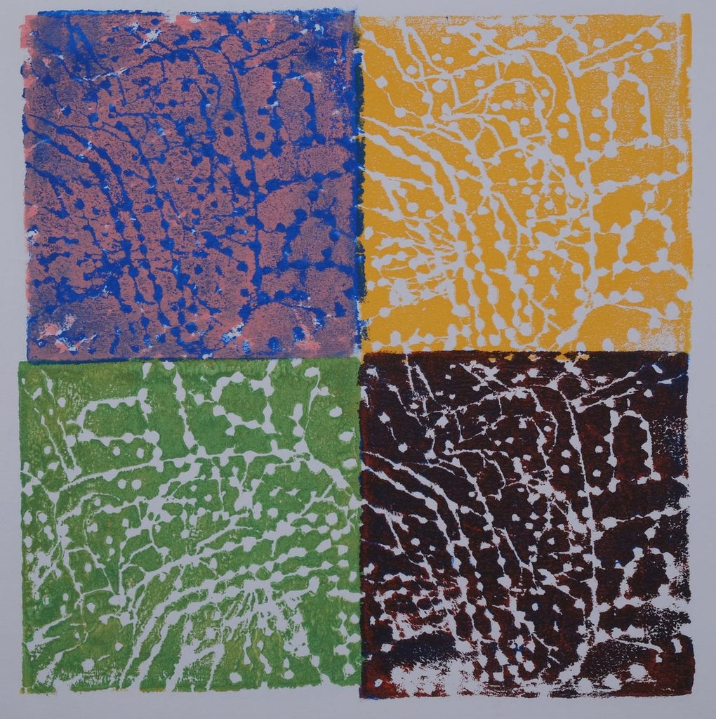 Ink on paper artwork with four colored squares: blue and pink in the top left, green in the bottom left, golden yellow in the top right and deep red in the bottom right