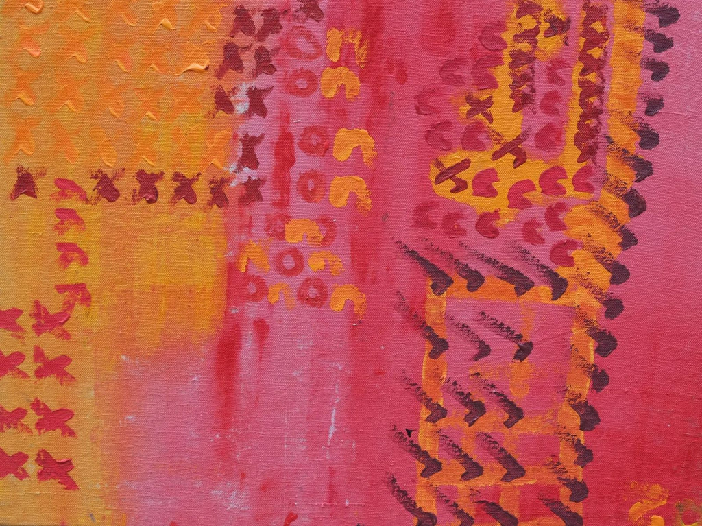 Acrylic on canvas artwork with orange and pink background beneath rows of the letter x and n and check marks