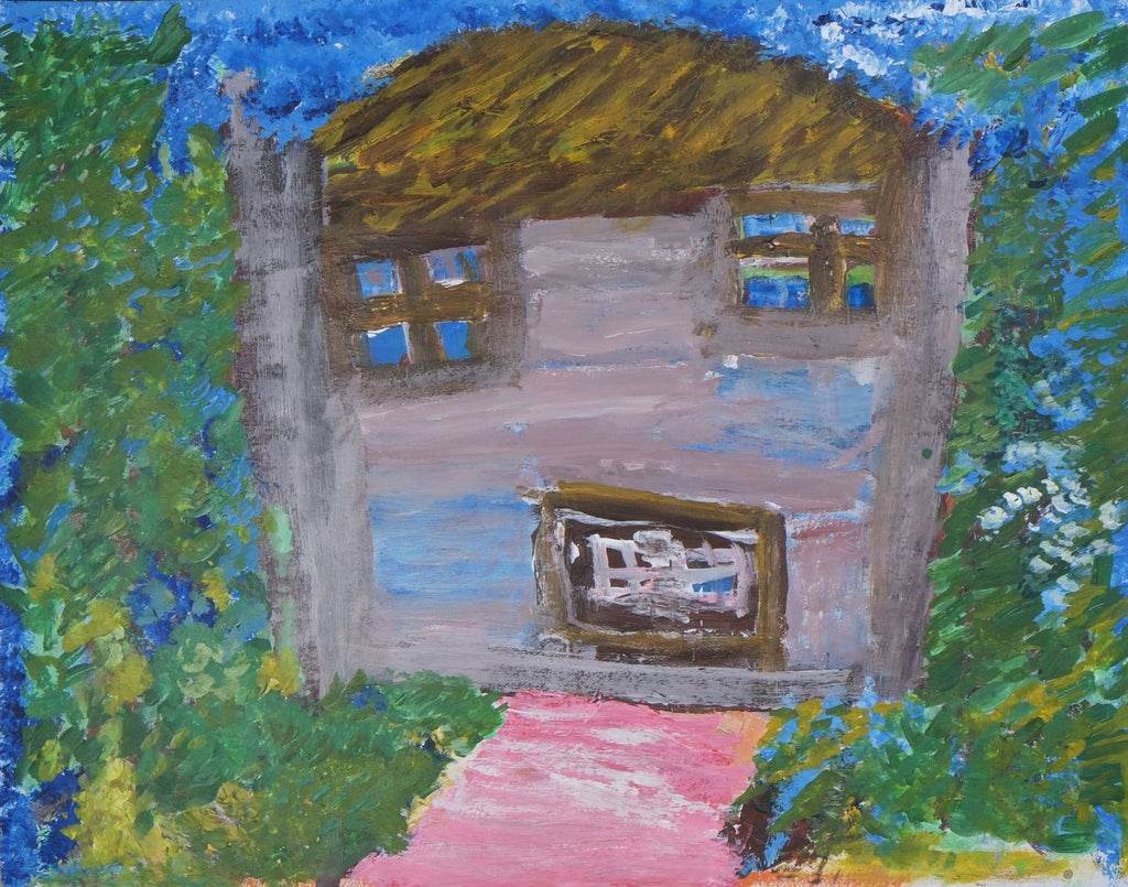 Acrylic on paper depicting a gray house with a straw roof and pink pathway with green grass and a blue sky