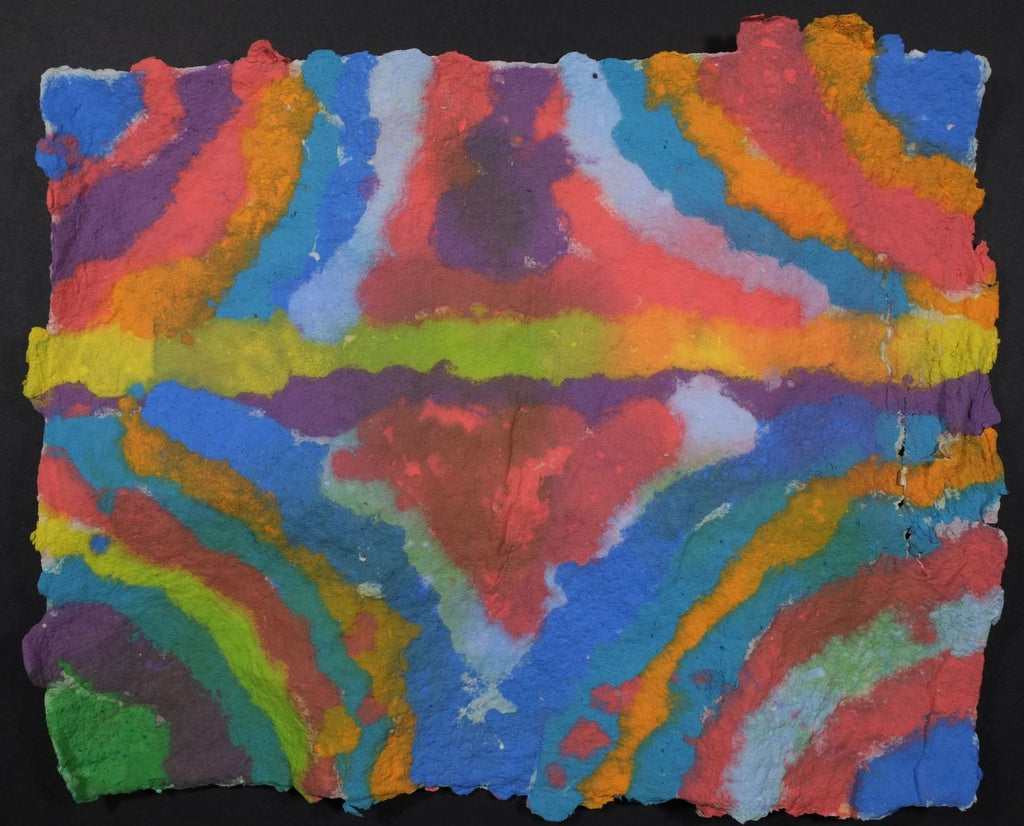 Pigment on recycled paper artwork with a green/yellow horizontal line through the center with curved lines of blue, orange, red, green and purple working inwards beneath and above