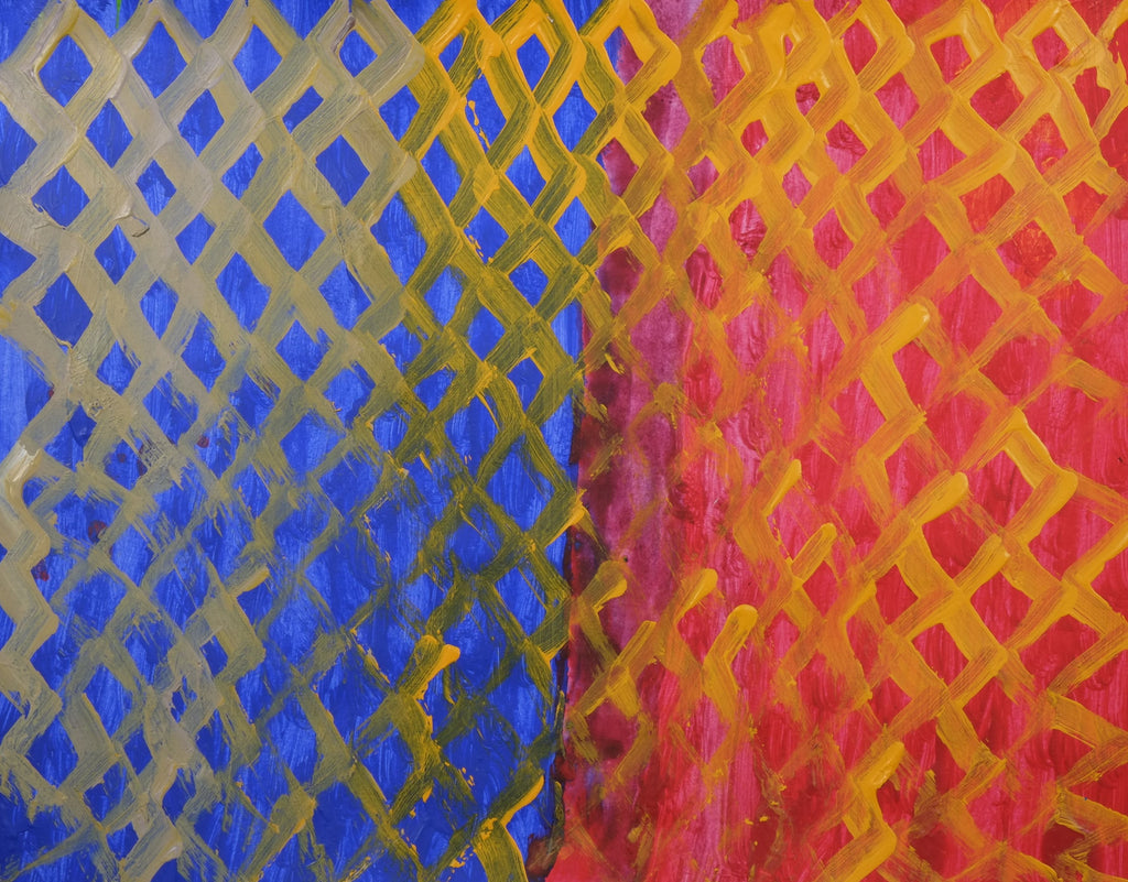 Acrylic on paper artwork depicting blue and red vertical blocks with yellow lattice overlay