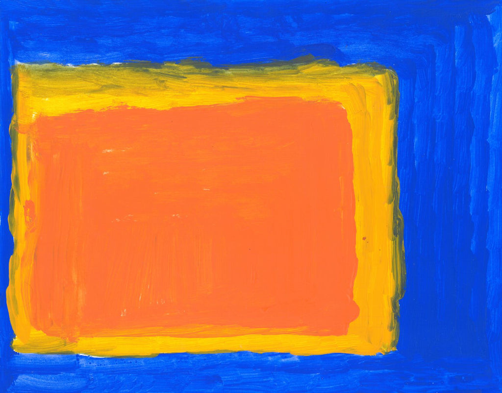 Acrylic on paper artwork with blue background and large yellow and orange squares
