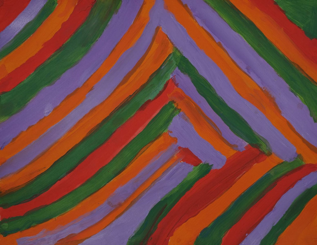 Acrylic on paper artwork depicting red, purple, green, and orange lines working inwards