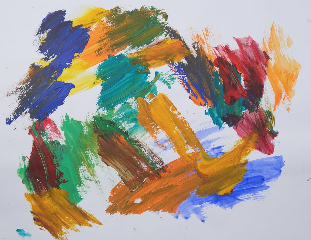 Acrylic on paper artwork against a white background with loose paint strokes of blue, orange, teal, green, yellow and red