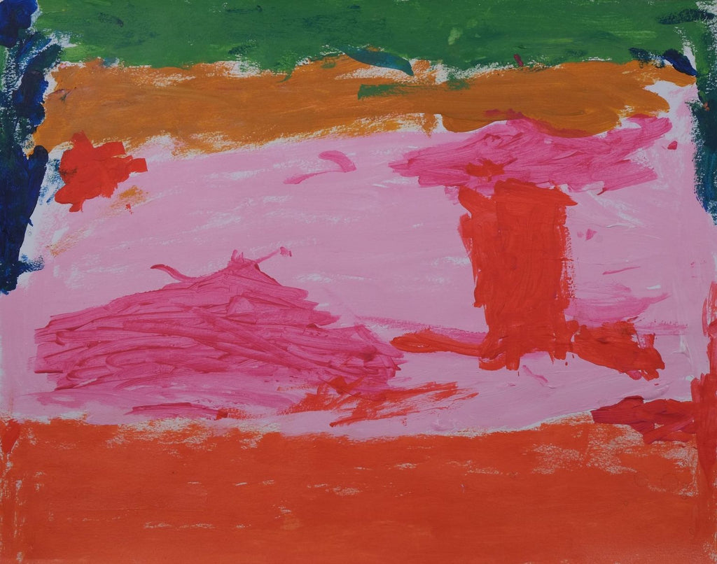 Acrylic on paper artwork with a vertical green, orange, light pink and burnt orange line with two darker pink ovals and a red rectangle in the middle