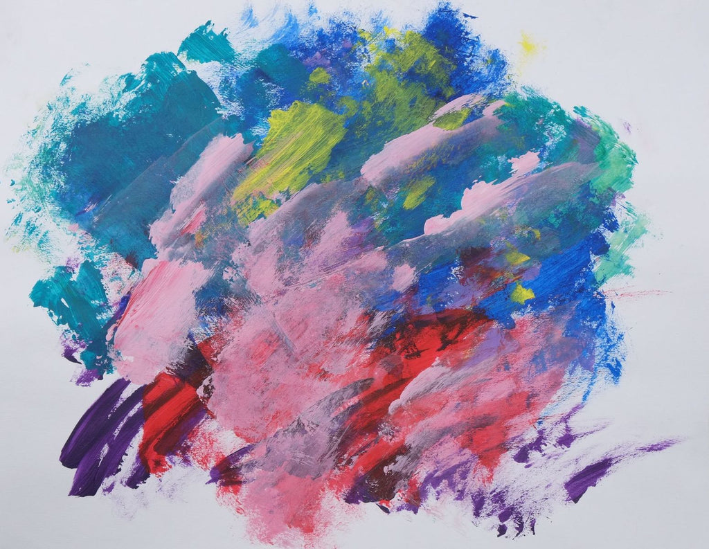 Acrylic on paper artwork on a mostly white background with strokes of teal, blue, pink, yellow, purple, red and seafoam forming a large circle in the center