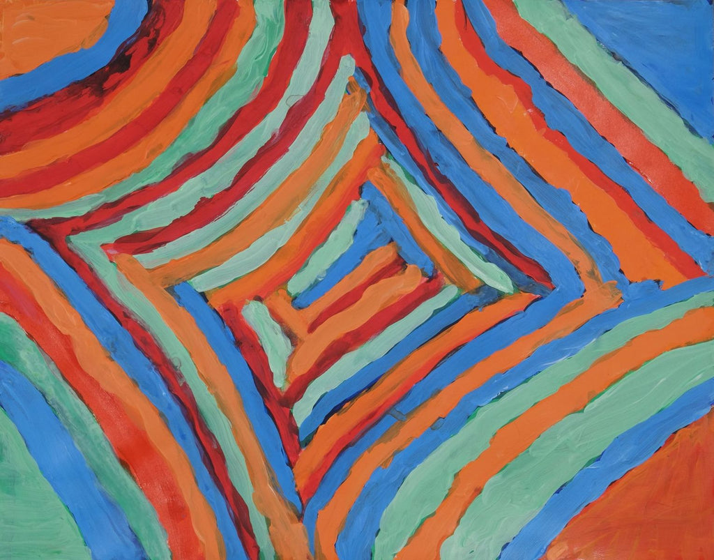 Acrylic on paper artwork with a pattern of orange, blue, red, and seafoam lines working from the outside in, in a diamond pattern