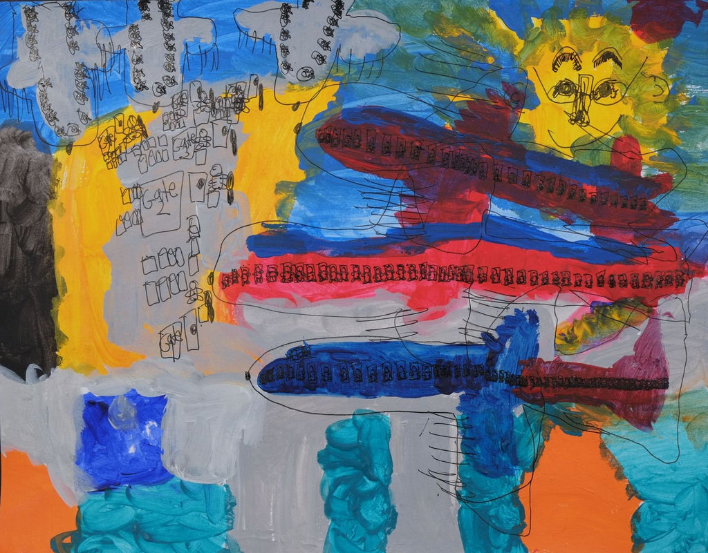 Acrylic and ink on paper artwork depicting blue and red planes on a tarmac next to Gate 2 with people waiting to board beneath a golden sun with a smiling face and glasses