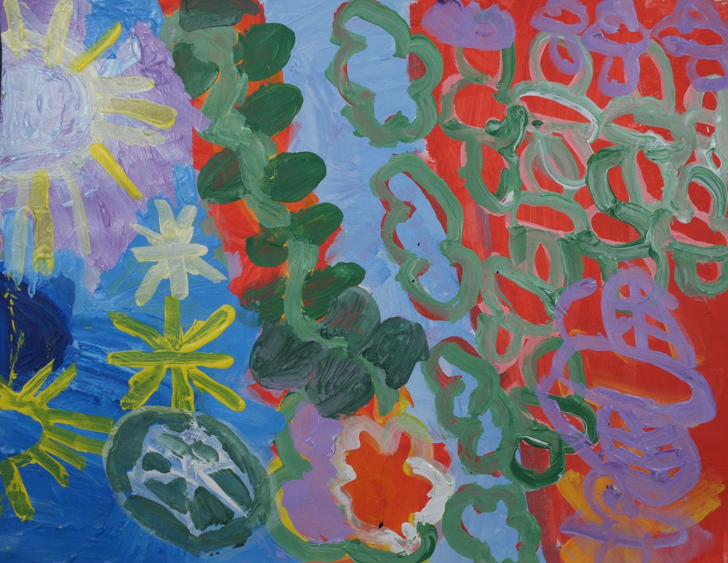 Acrylic on paper artwork depicting yellow suns, green vine and purple flowers with green leaves over a red background