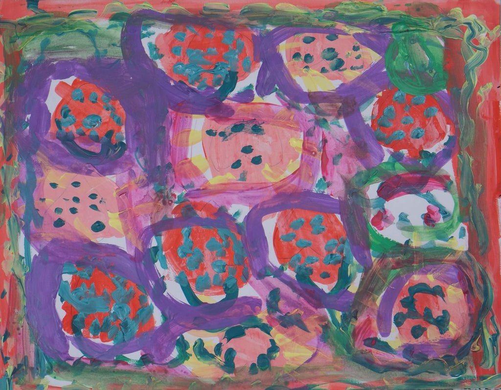 Acrylic on paper artwork with red border and purple circles colored in with red and pink and teal dots