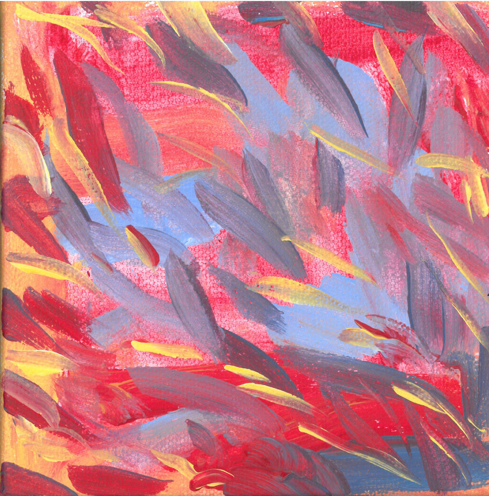 On a background of orangish red with a touch of yellow are mostly diagonal streaks of sky blue, gray, yellow, and deep red. The streaks look somewhat like feathers.