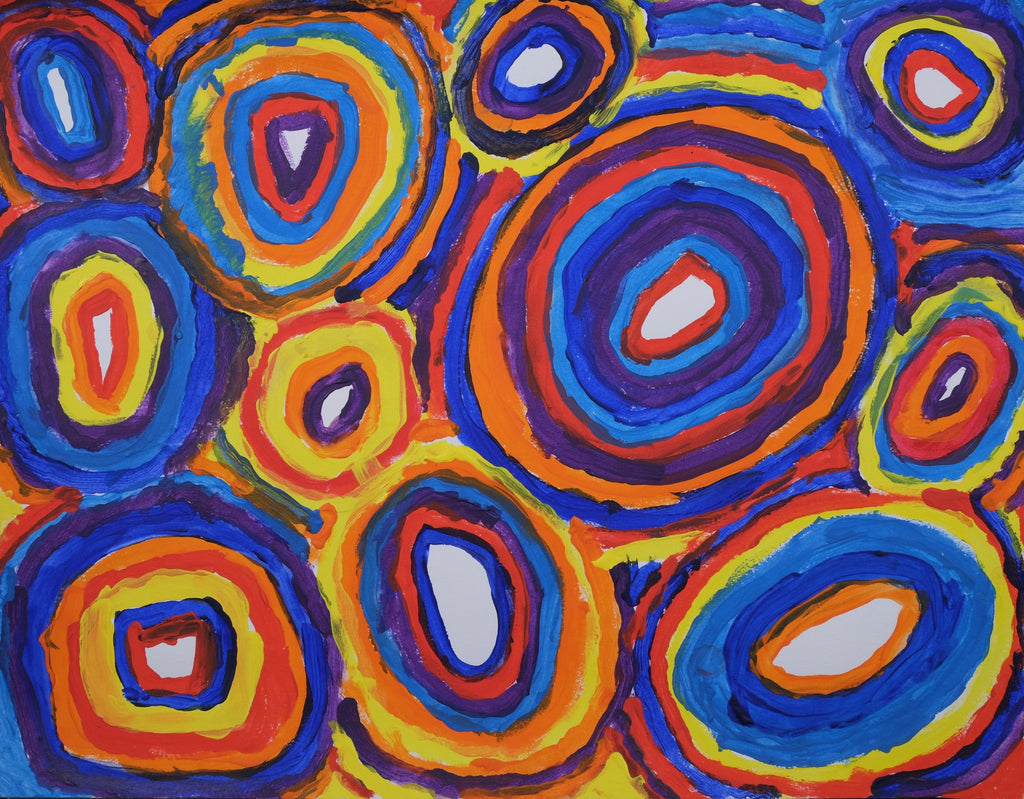 Acrylic on paper artwork featuring hundreds of circles in varying sizes and colors of red, blue, orange, yellow and purple