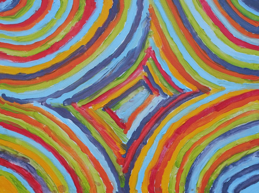 Acrylic on canvas artwork depicting light blue, dark blue, red, orange, green and yellow lines working inwards to colored rectangles in the center